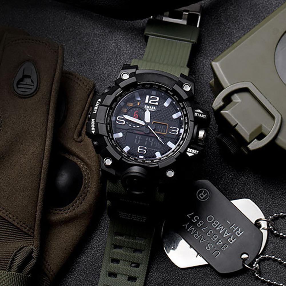 Men's Fashionable Multi-Functional Student Electronic Watch Outdoor Sports Dual-Display Waterproof Digital Watch Luminous Watch