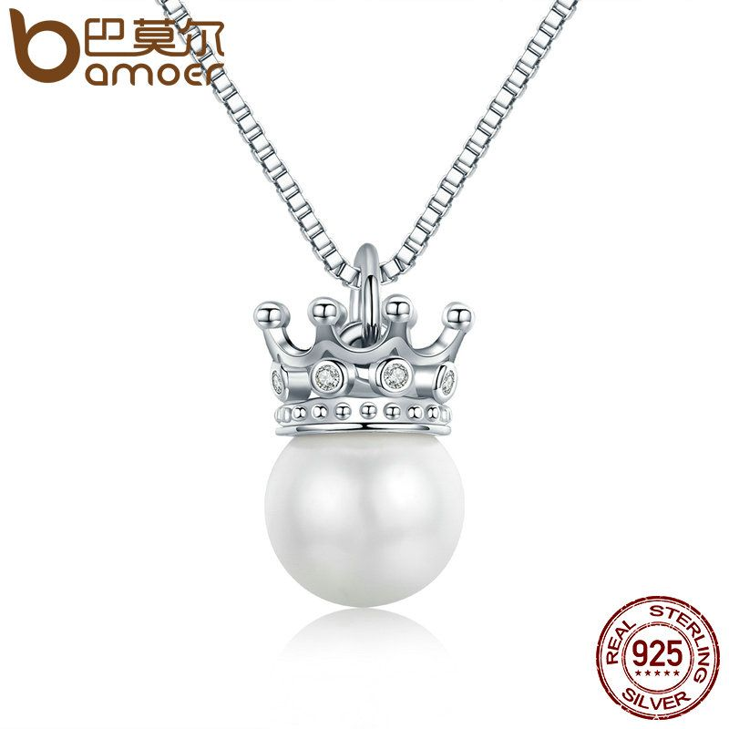 BAMOER 100% 925 Sterling Silver Elegant Queen Crown Clear CZ Pendant Necklaces Women Luxury Sterling Silver Jewelry SCN177