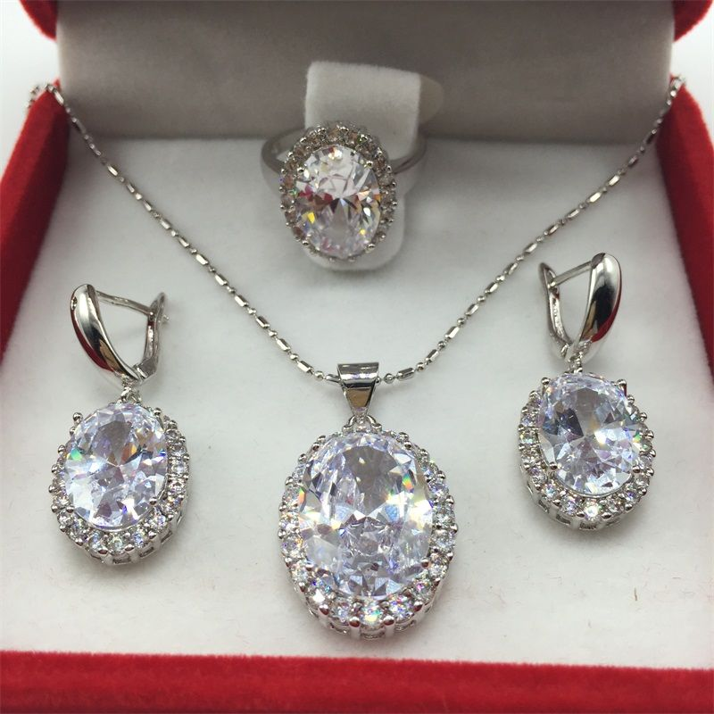 925 Sterling Silver Necklace Pendant Earrings Ring Size Clear White Zircon Rhinestone Jewelry Sets For Women Free shipping