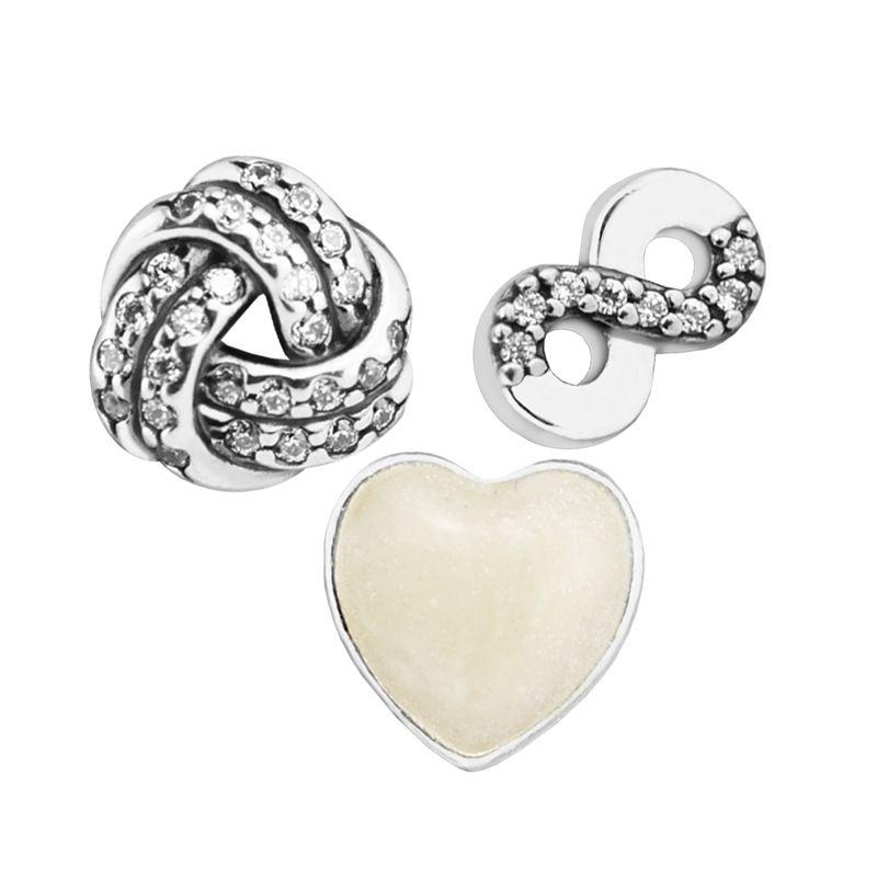 925 Sterling Silver Jewelry Infinite Love Petites, Silver Enamel Accessories Original Charms Beads Fits Fandola Pendant CKK