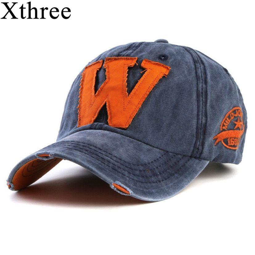 Xthree heißer baumwolle stickerei brief W baseballmütze hysteresenkappen ausgestattet knochen casquette hut für männer benutzerdefinierte hüte