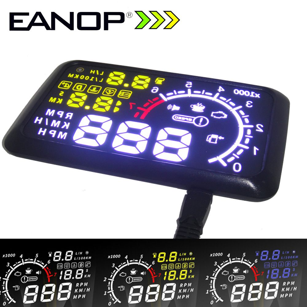 EANOP 5.5 HUD Headup Display Car Speed Projector Car hud Windshield Projector Head OBD2 fuel Overspeed KM/H for Toyota Ford BMW