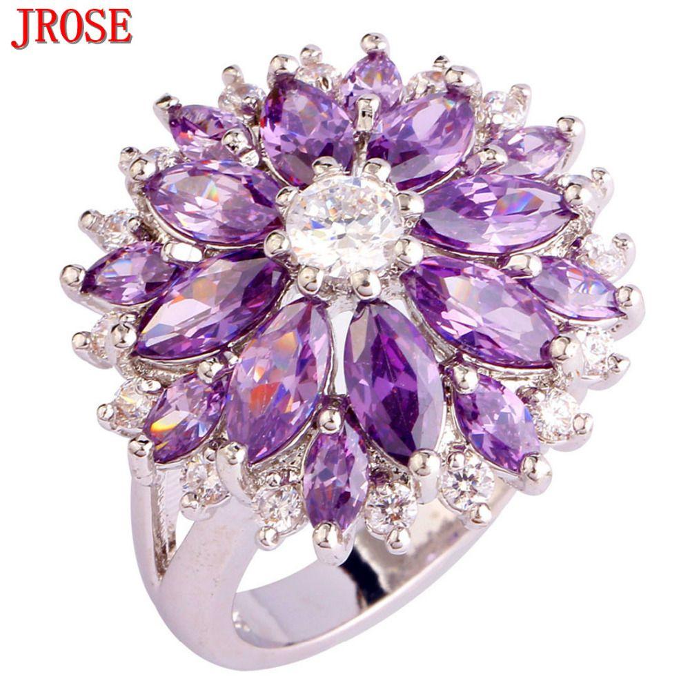 JROSE Gros Fleur Classique De Mariage Pourpre et Blanc CZ Argent Couleur anneau Taille 7 8 9 10 11 12 13 Femmes Parti bijoux
