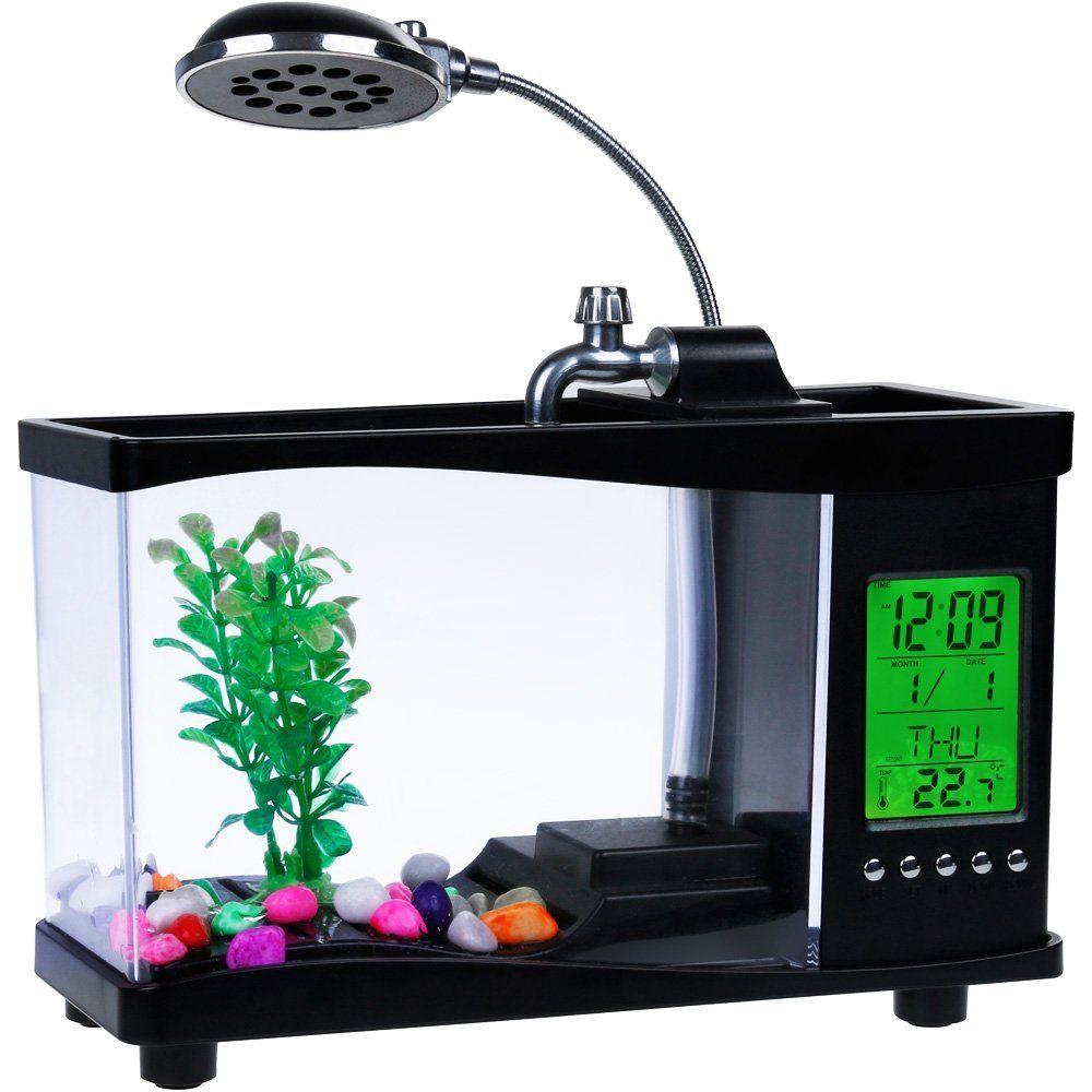 Nuevas luces led Usb Mini Tanque de Peces de Acuario de Escritorio Electrónico Mini Tanque de Pescados con el Calendario Corriendo LLEVÓ la Luz de La Bomba de Agua reloj