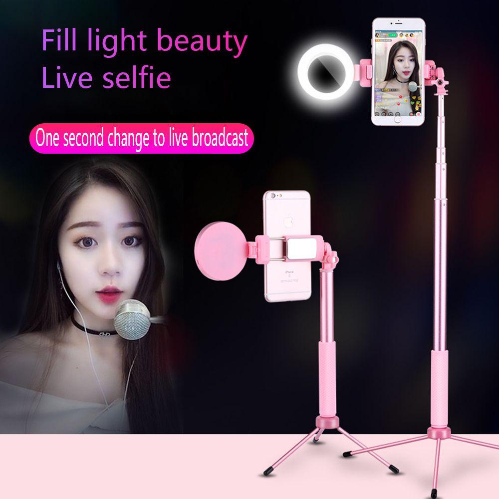 Travor 67 pouces 170cm Bluetooth Selfie bâton trépied avec anneau lumière Selfie beauté Portrait remplir éclairage pour iPhone XS 7plus