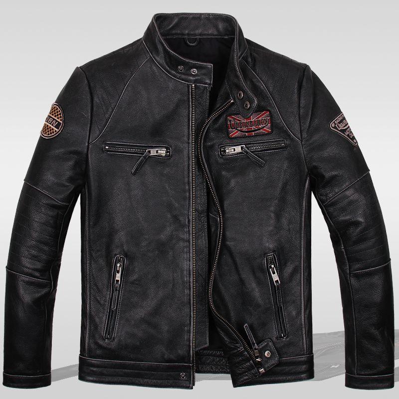 Read Description! Asian size Motorcycle rider leather jacket , vintage mens genuine leather jacket, slim leather coat