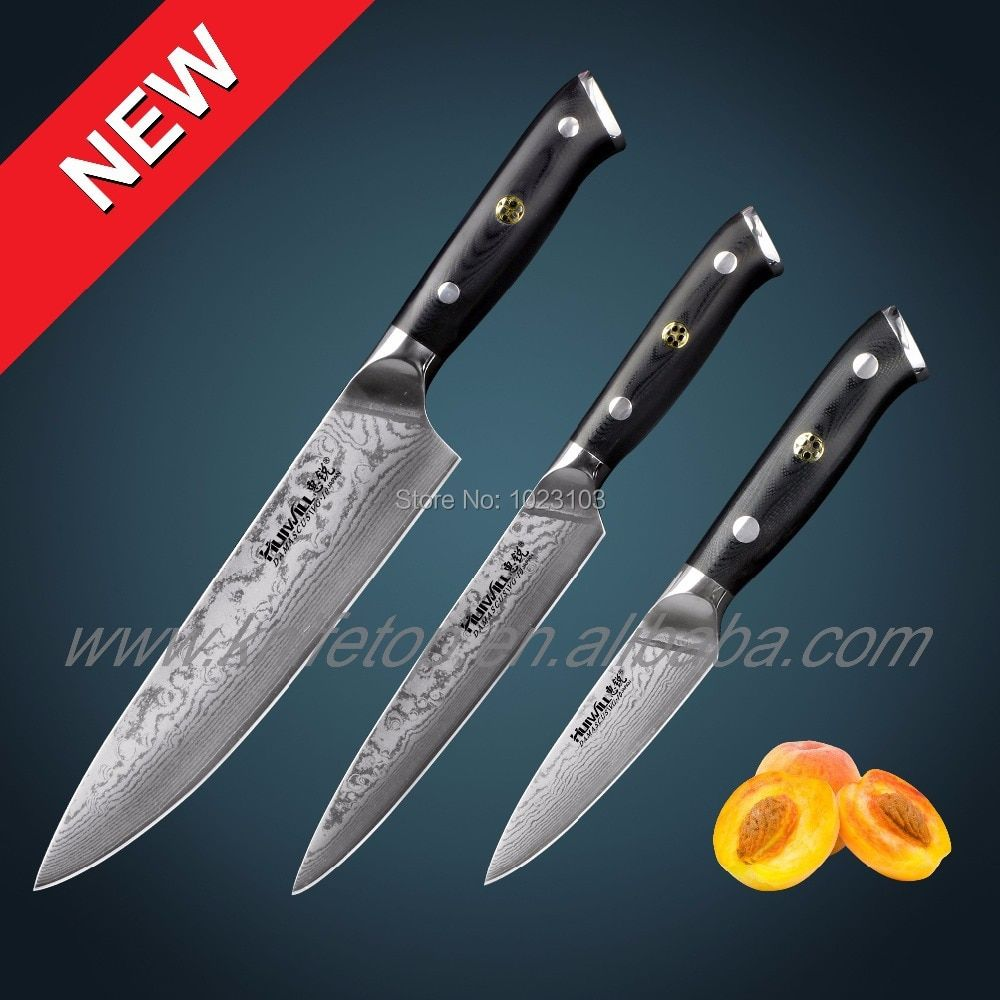 67 layers 3 pcs Japanese VG10 Damascus stainless steel chef kitchen knife set chef knives Vegetable knives with Mosaic Rivet