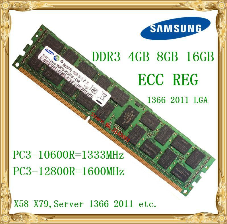 Samsung DDR3 4 GB 8 GB 16 GB serveur mémoire 1333 1600 MHz ECC REG DDR3 PC3-10600R 12800R registre RIMM RAM X58 X79 utilisation de la carte mère