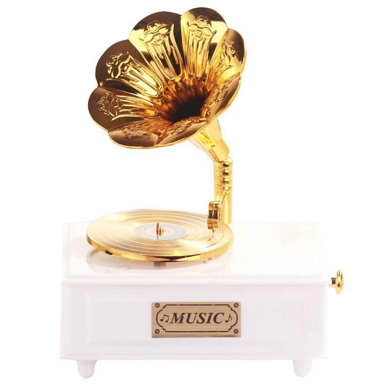 Doux Gramophone Tiroir Boîte à Musique pour La Maison Accessoire De Mariage D'anniversaire Cadeau Figurine Bijoux Boîte Manivelle Carrousel Boîtes À Musique