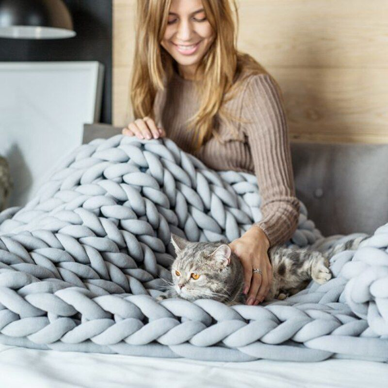 2018 INS Acrylic Coarse Lines Chunky Knitted Blankets Winter Lagre Blanket Machine Washable Home Decor Throws Blankets
