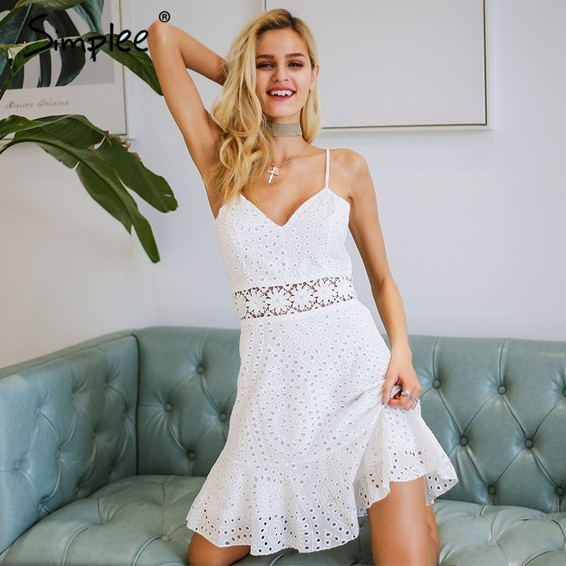 Simplee Strap v neck cotton lace dress women Hollow out casual dress white 2018 Summer style short dress female vestidos