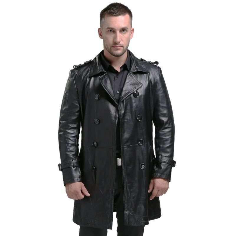 AIBIANOCEL Spring Men's Genuine Leather Jacket For Men Jaqueta De Couro Masculina Fashion Black Male Sheepskin Coat Plus Size 94