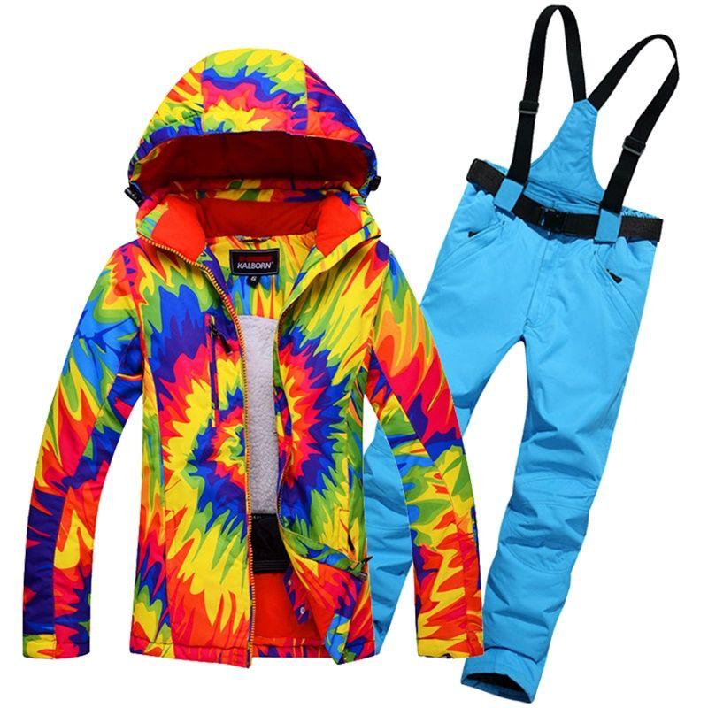 Dropshipping Wasserdichte Sportwear Weibliche Skianzug Frauen Winter Ski tragen Mit Kapuze Jacke Trägerhose schnee jacke und hose