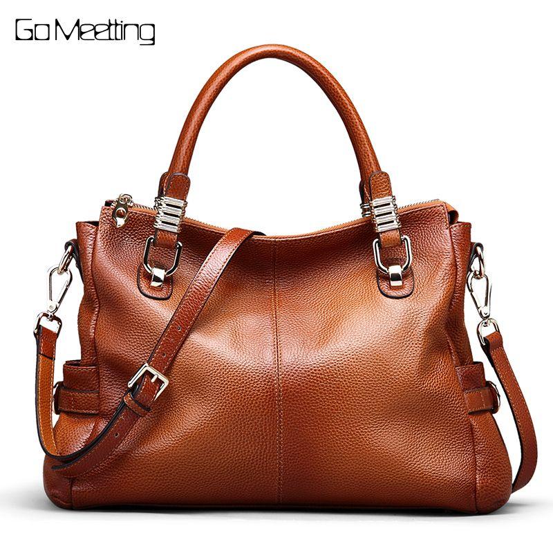 Go Meetting Genuine Leather Women Handbags Totes Vintage Crossbody Messenger Bags Cow Leather Sprayed Color Women Shoulder Bag