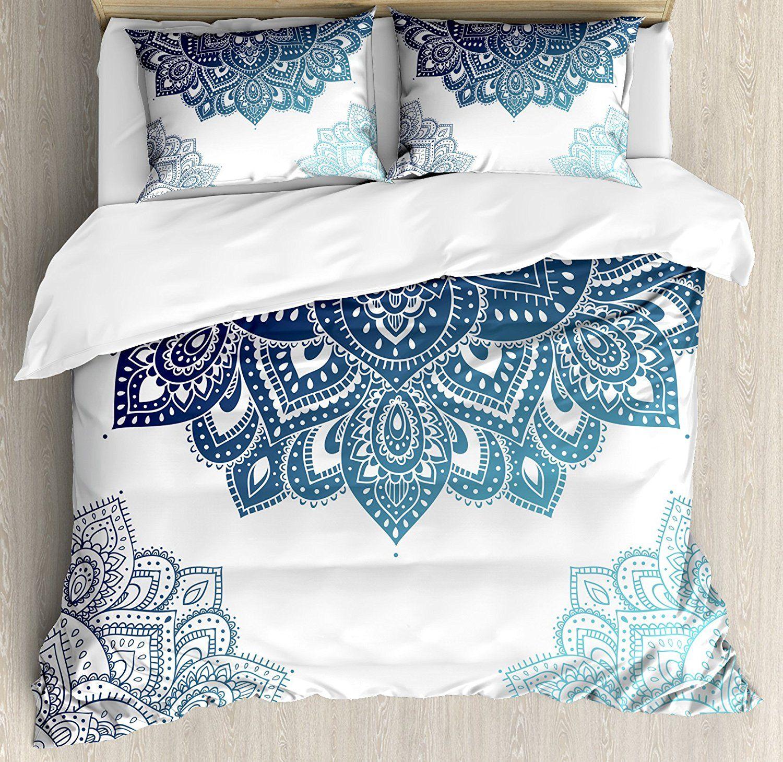 Henna Bettbezug Set Südasien Mandala Design mit Leuchtenden Farben Zier Ethnische Illustration Dekorative 4 stücke Bettwäsche Set