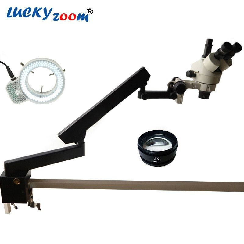 Luckyzoom 7X-90X Articulating Clamp Soldering Microscope Trinocular Stereo Microscope Stand 144 Ring Light 2.0X Objective Lens