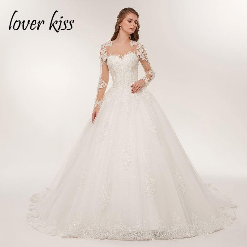 Liebhaber Kuss Braut Kleid Spitze Luxus Sheer Tüll Langarm Hochzeit Kleid 2018 Perlen Mariage robe Brautkleider vestido de noiva