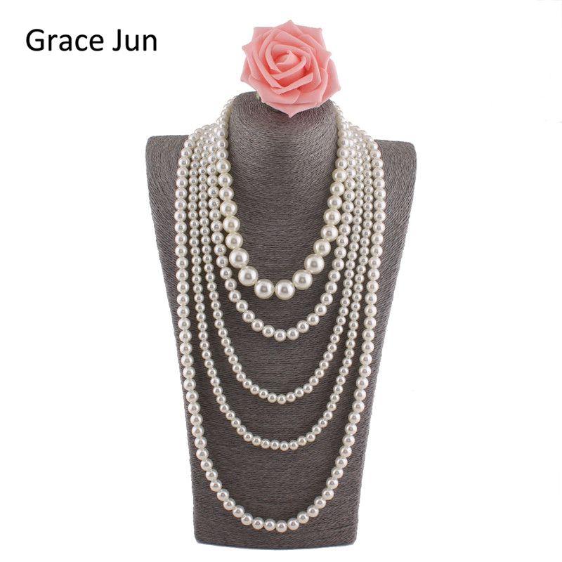 Grâce Juin (TM) Nouveau Mode Main Multi-brin Perle Collier pour les Femmes Parti Déclaration Pendentif Collier Haute qualité 33.8''