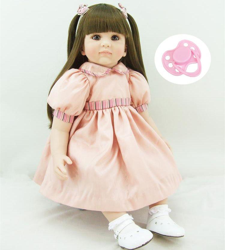 60cm Silicone Reborn Girl Baby Doll Toys Lifelike 24inch Vinyl Princess Toddler Babies Dolls Birthday Girls Brinquedos
