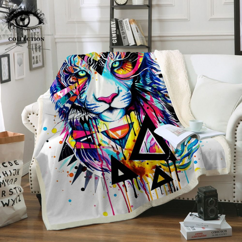 Shattered Tiger by Pixie Cold Art Microfiber Bed Blanket Animal Throw Blanket Geometric Watercolor Bedspreads Colorful manta
