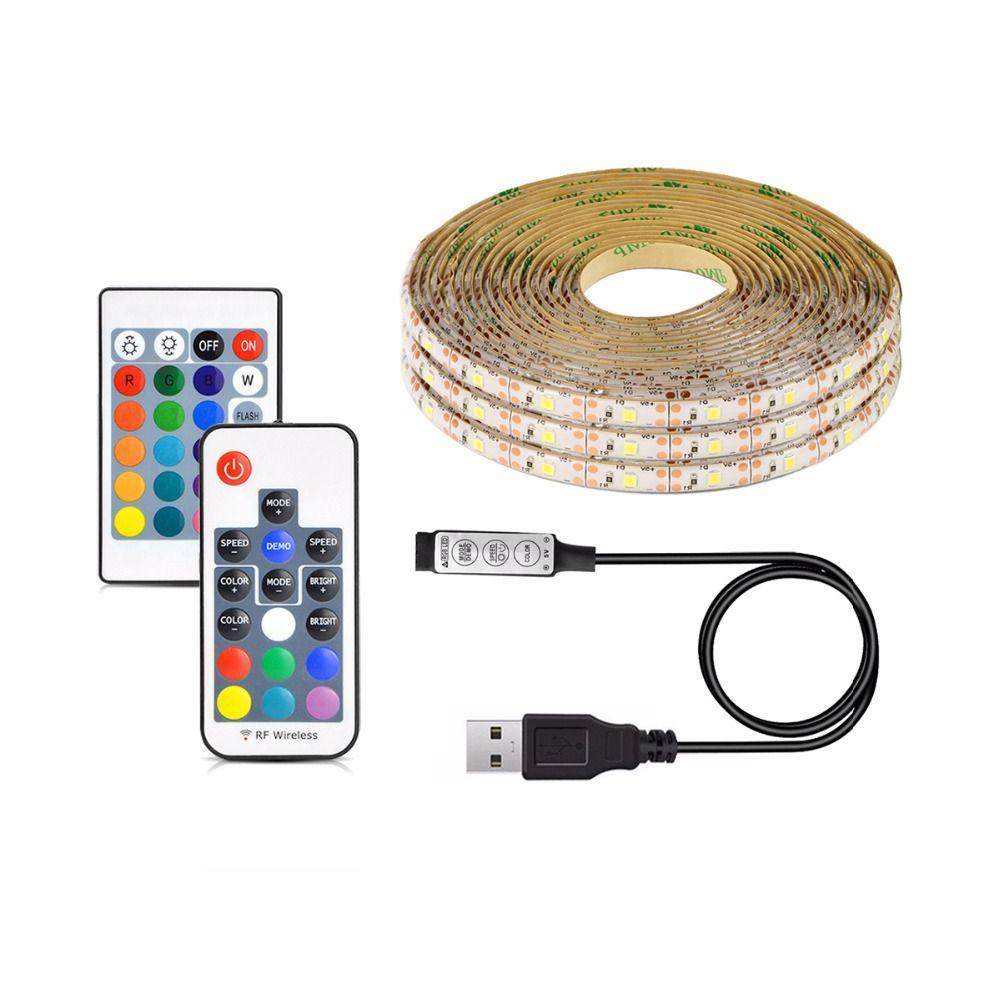 2835 SMD DC 5V USB LED strip light warm white RGB USB charger led light ribbon decor lamp 1M 2M 3M 4M 5M Remote control
