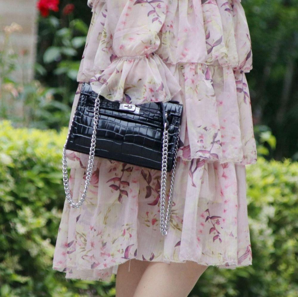 Frauen Handtasche Aus Echtem Leder Handtasche Mode Krokodil Muster Abend tasche Weiblichen Kette Schulter Tasche Messenger Bag ~ 18B13