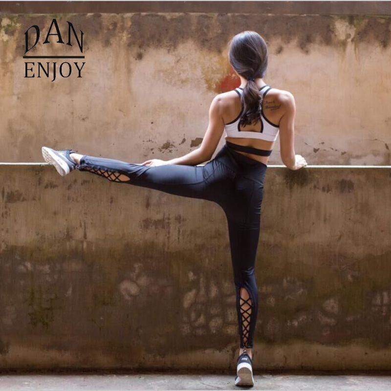 DANENJOY Yoga Pantalons Femmes Sport Fitness Course À Séchage Rapide Compression Croix Collants Gym Leggings Élastique Pantalon D'entraînement De Danse