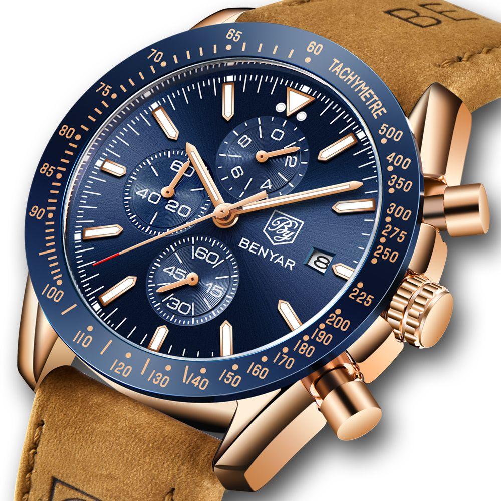 BENYAR Men Watches Brand Luxury Silicone Strap Waterproof Sport Quartz Chronograph Military Watch Men Clock Relogio Masculino
