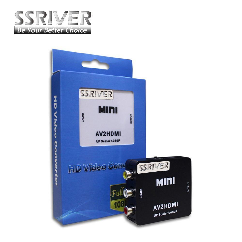 SSRIVER RCA to HDMI AV to HDMI <font><b>1080P</b></font> AV2HDMI Mini AV to HDMI Converter Signal Converter for TV, VHS VCR, DVD Records