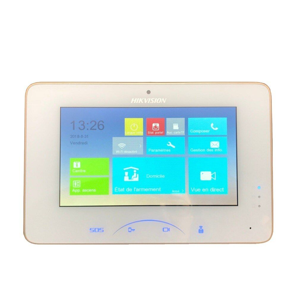 Multi-language, Support Upgrade.Internationa Hikvision DS-KH8301-WT Indoor Video Touchscreen 7inch Monitor 1024X600 0.3MP camera