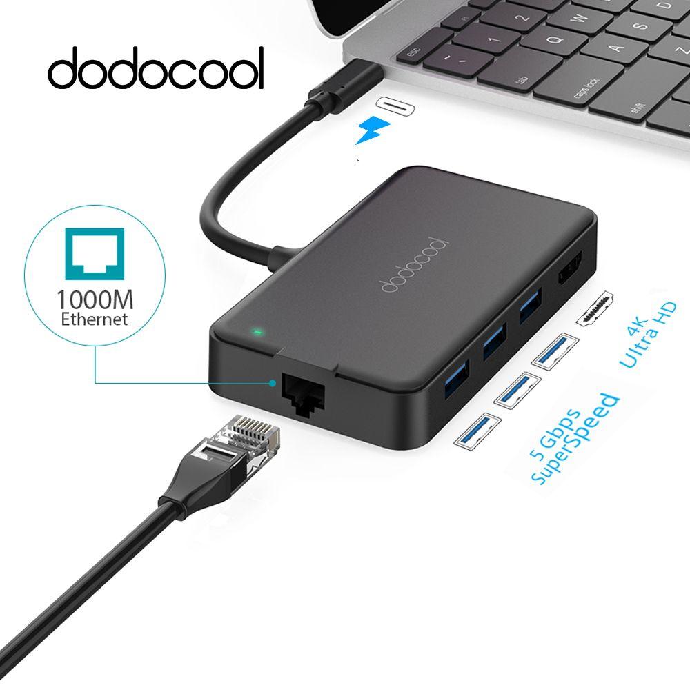 Dodocool 6-in-1 USB Hub Multifunktions USB C Hub mit Typ-C 4 karat HD RJ45 USB 3.0 Hub USB Splitter Typ C Hub Für Samsung Galaxy S9