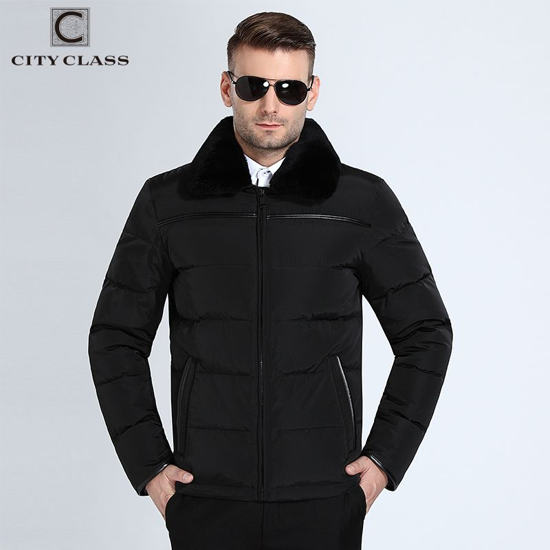 CITY CLASS 11077 Top New Mens Winter Jackets And Coat Casual Short Stand Rabbit Collar Down Winter Black Green Jackets Free Ship