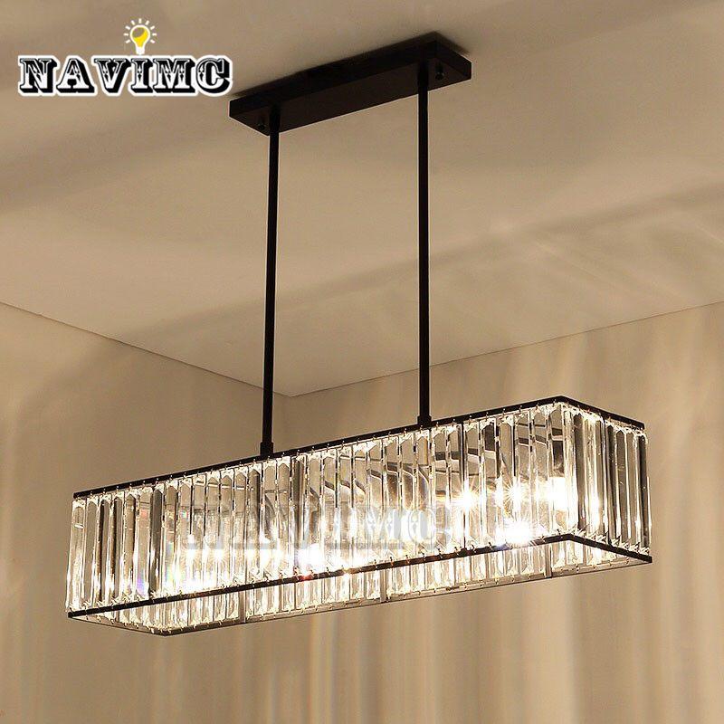 3-light American Vintage Retro Crystal Chandelier Lighting for Dining Room Restaurant Hanging Iron Rod Pendant Lamp