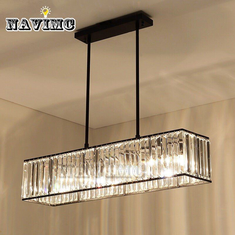 3-light American Vintage Retro Crystal Chandelier Lighting for Dining Room Restaurant Hanging Iron Rod Pendant Lamp