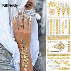 Tattrendy 4 unids New Indian árabe diseño oro plata flash tribal Henna tatuaje pasta metalicos metal color de tatuaje cuerpo MANO