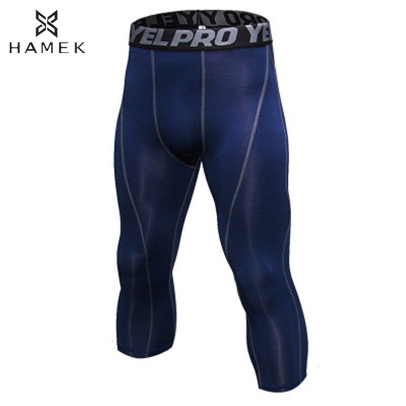 Men 3/4 Compression Running Tights Sports Skins Running Pants Fitness Gym Yoga Basketball Training Tight Athletic Leggings