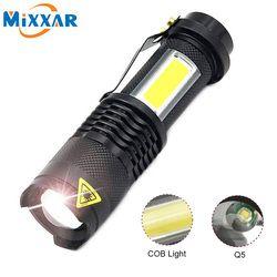 zk20 Dropshipping Portable Q5 +COB Mini Black 4000LM LED Flashlight Zoom Torch Waterproof Penlight Lighting lantern Camping Lamp