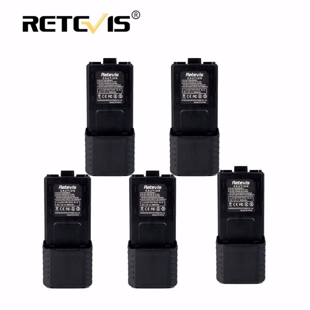 5pcs Walkie Talkie Battery 7.4V 2800mAh Li-ion Battery BL-5L For Retevis RT-5R For Baofeng UV5R UV-5R UV5RE UV-8HX For TYT TH-F8