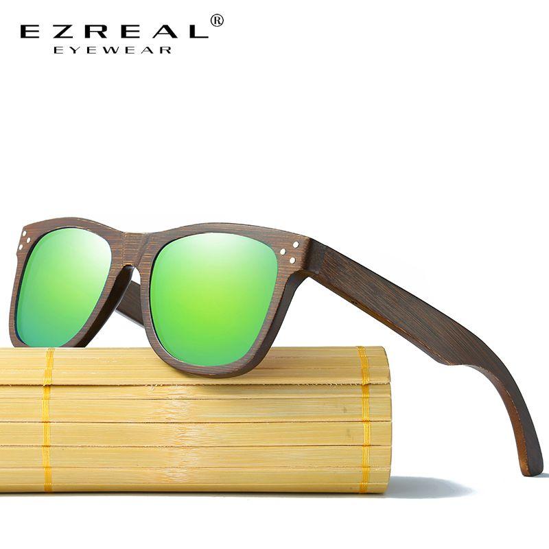 EZREAL lunettes de soleil en bois véritable lunettes en bois polarisées UV400 lunettes de soleil en bambou marque lunettes de soleil en bois avec étui en bois