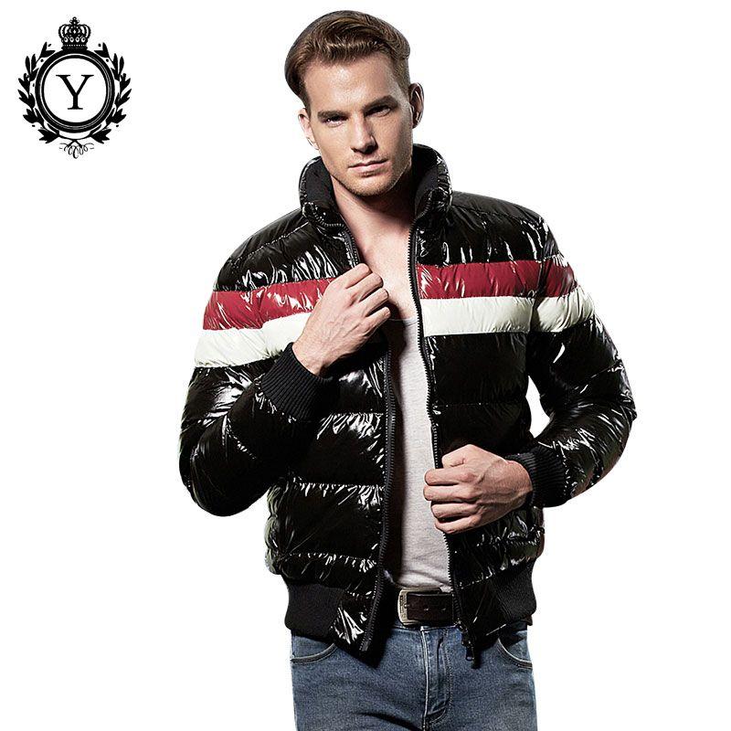 COUTUDI New Plus Size Winter Jacket 2017 Fashion Cotton Contrast Color Warm Brand Parkas Short Clothing Parka Shiny Mens Coats