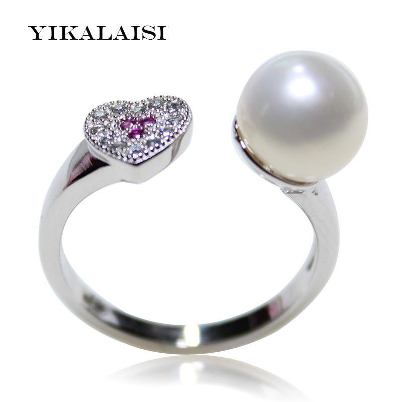 YIKALAISI 2017 nouvelle mode 925 bague en argent Sterling perle bijoux de bague de perles d'eau douce ovale anneaux de mariage pour les femmes