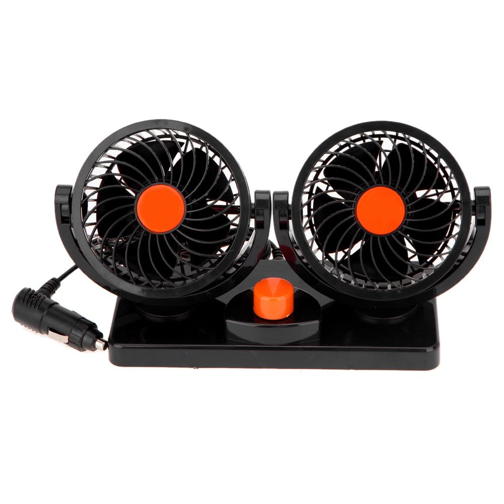 24V Mini Electric Car Fan 360 Degree Rotating Adjustment Low Noise Summer Car Air Conditioner Dual Head Auto Cooler Cooling Fan