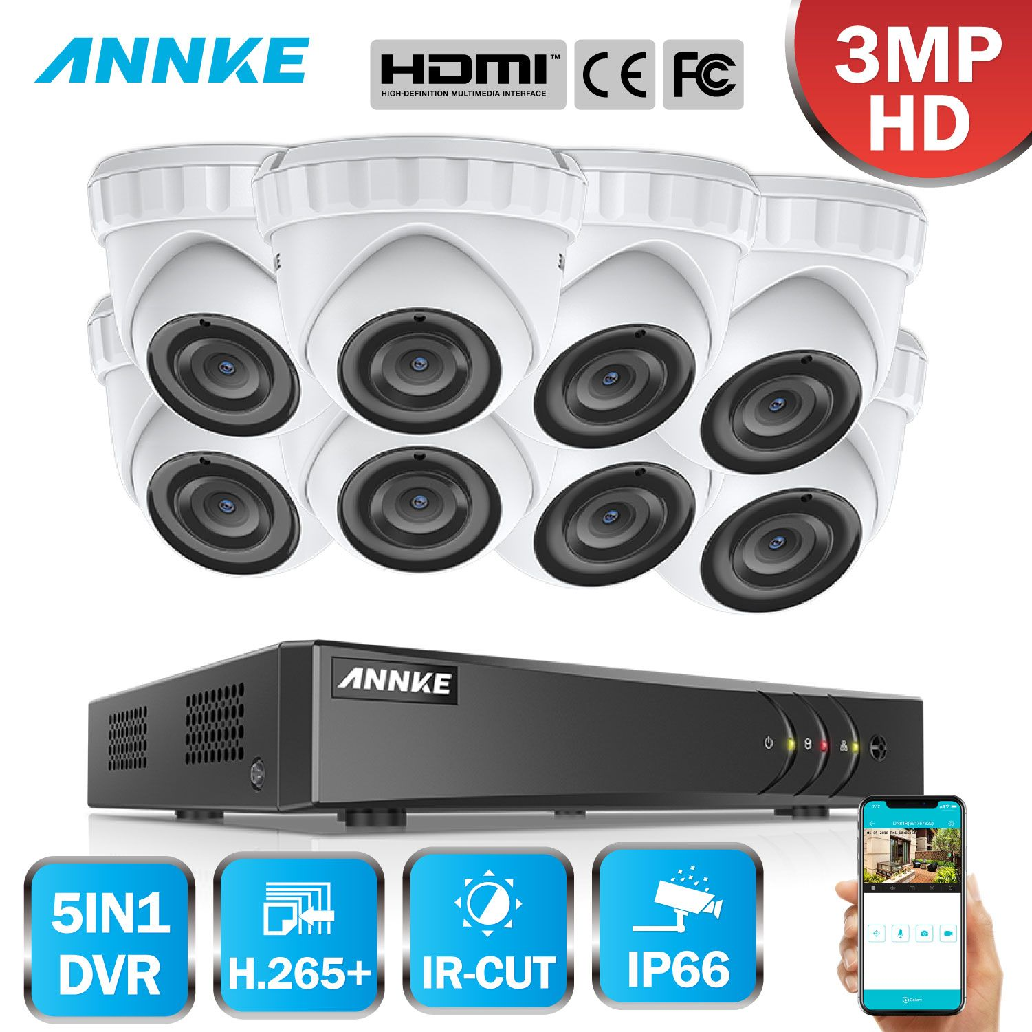 ANNKE 8CH HD 3MP CCTV Kamera Sicherheit System 5in1 HDMI DVR 8PCS 3MP TVI Dome Outdoor Wetterfeste Home Motion erkennung Kit