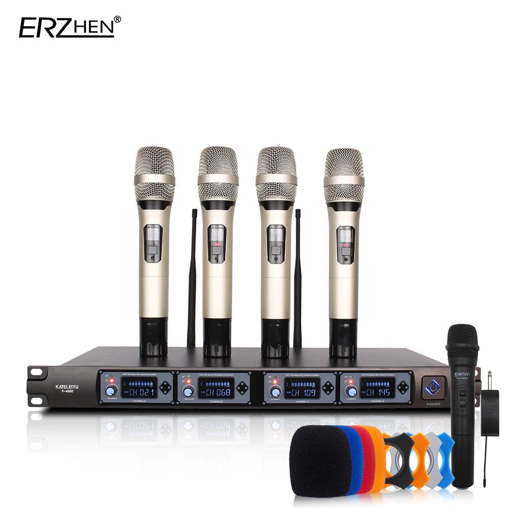 Système de Micro sans fil U4000T Micro Professionnel 4 Canaux UHF Dynamique Professionnel 4 Micro À Main + Karaoké