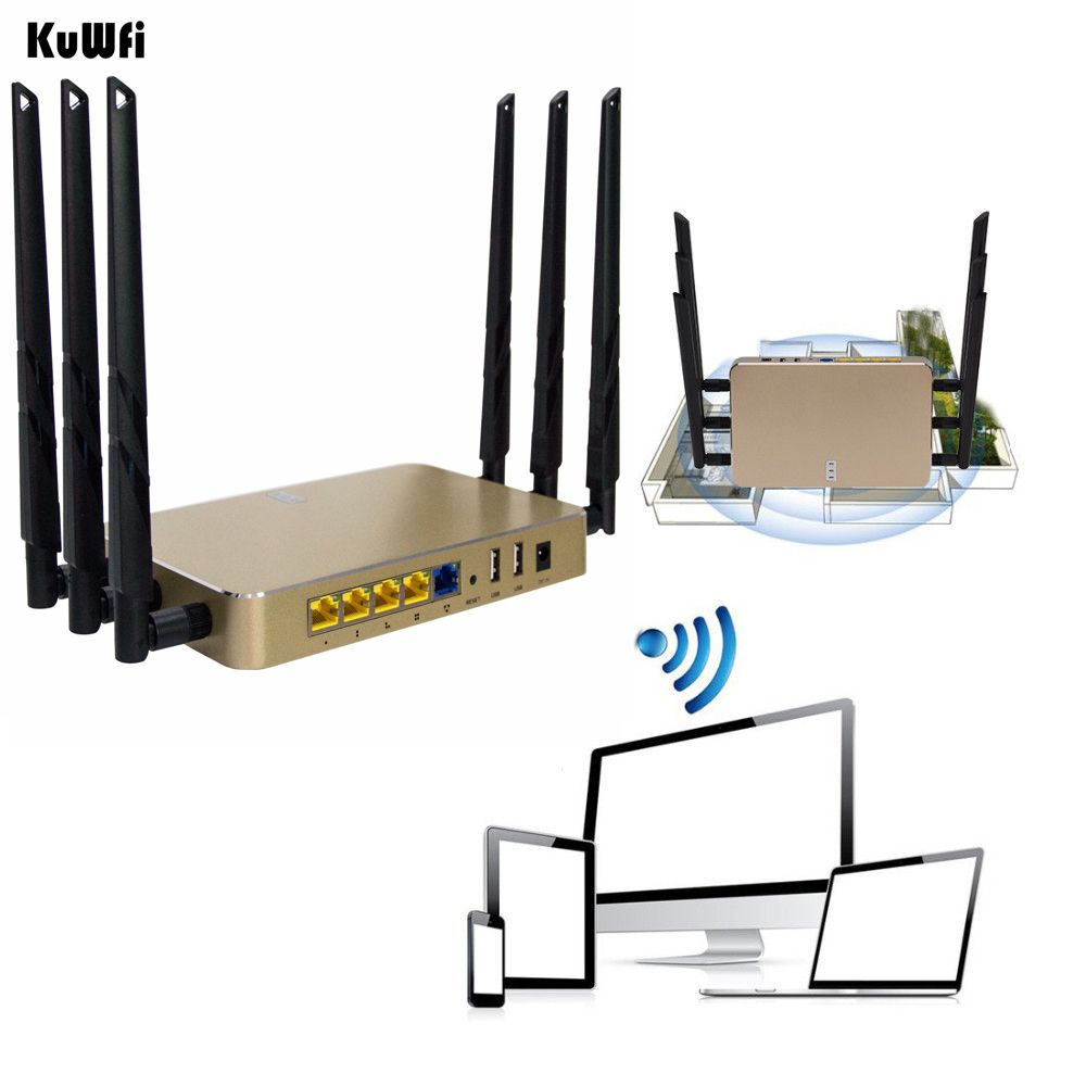 1200Mbps Wireless Wifi Router 11AC 2.4G&5G Gigabit Through Wall WiFi Repeater AP Router High Gain Support 128 Users