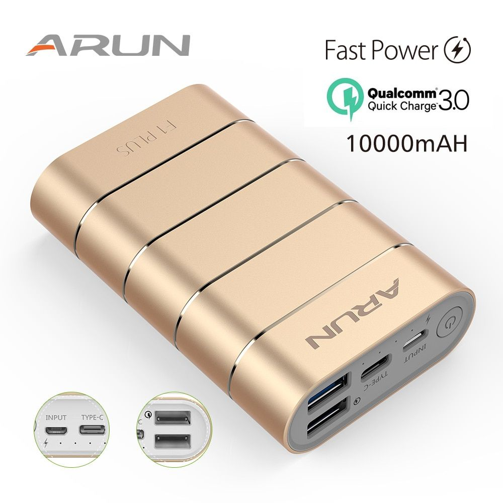 ARUN F1PLUS 10000mah Quick Charge External Battery Charger Fast Charging Portable Power Bank for Samsung Phone 6s Xiaomi Huawei