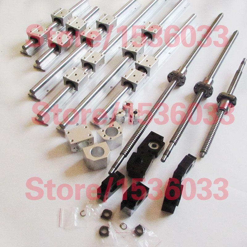 6se linéaire Rail de guidage 3 vis à billes boules vis 1605 + BK12 BF12 + 3 accouplements
