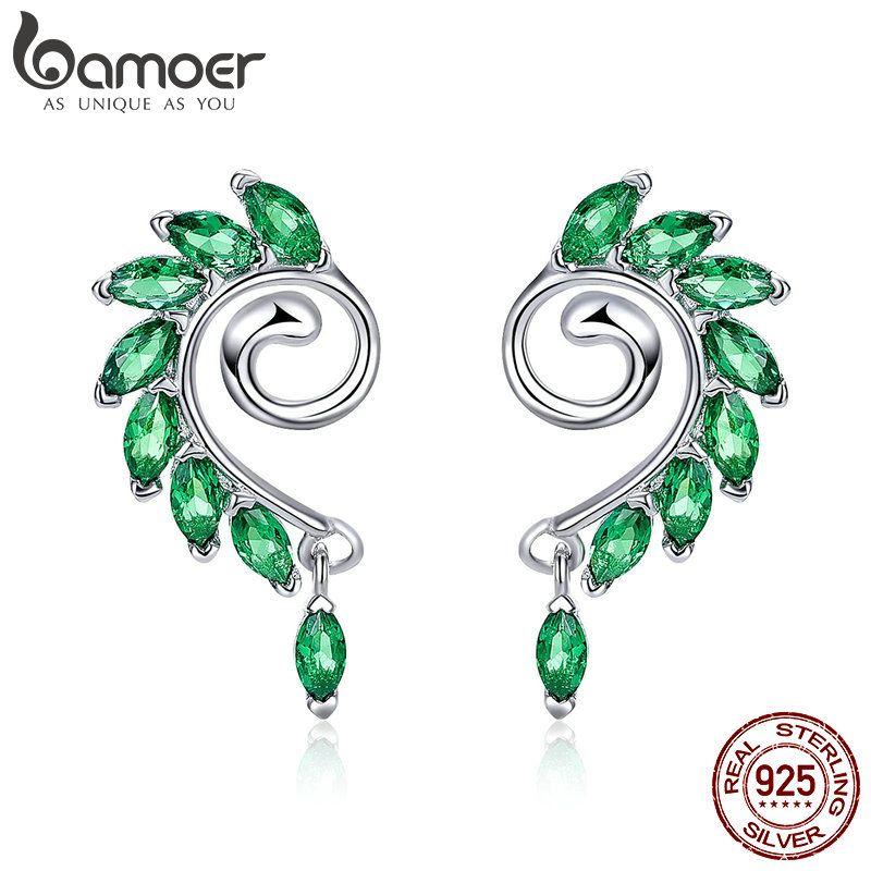 BAMOER Hohe Qualität 925 Sterling Silber Grün CZ Baum Blätter Baum Blatt Gestüt Ohrringe für Frauen Mode Schmuck 2018 BSE001