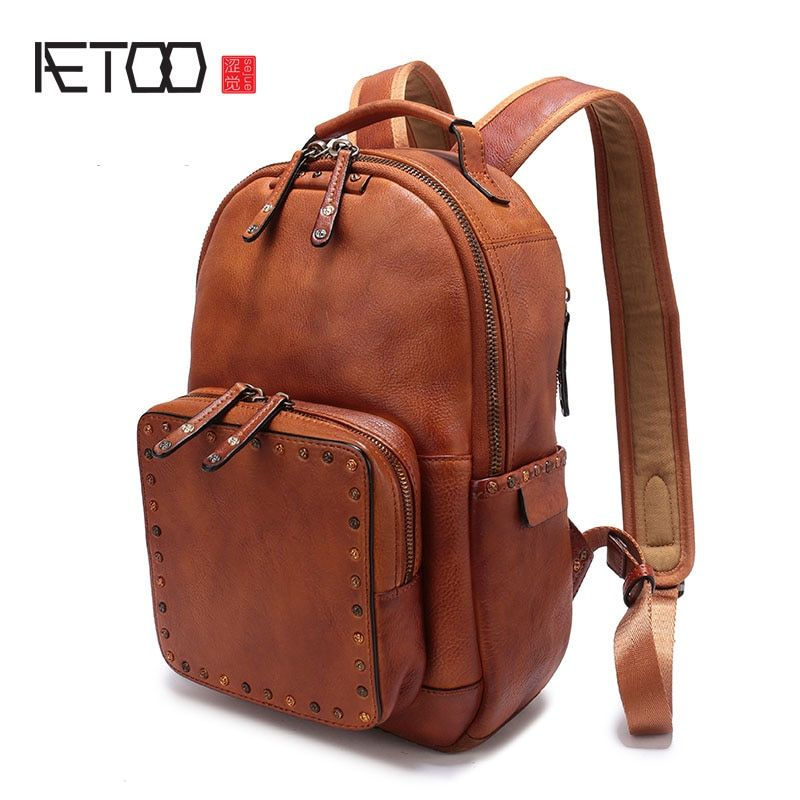 AETOO The first layer of leather rivet shoulder bag 2017 new casual wild leather backpack large volume female book bag tide