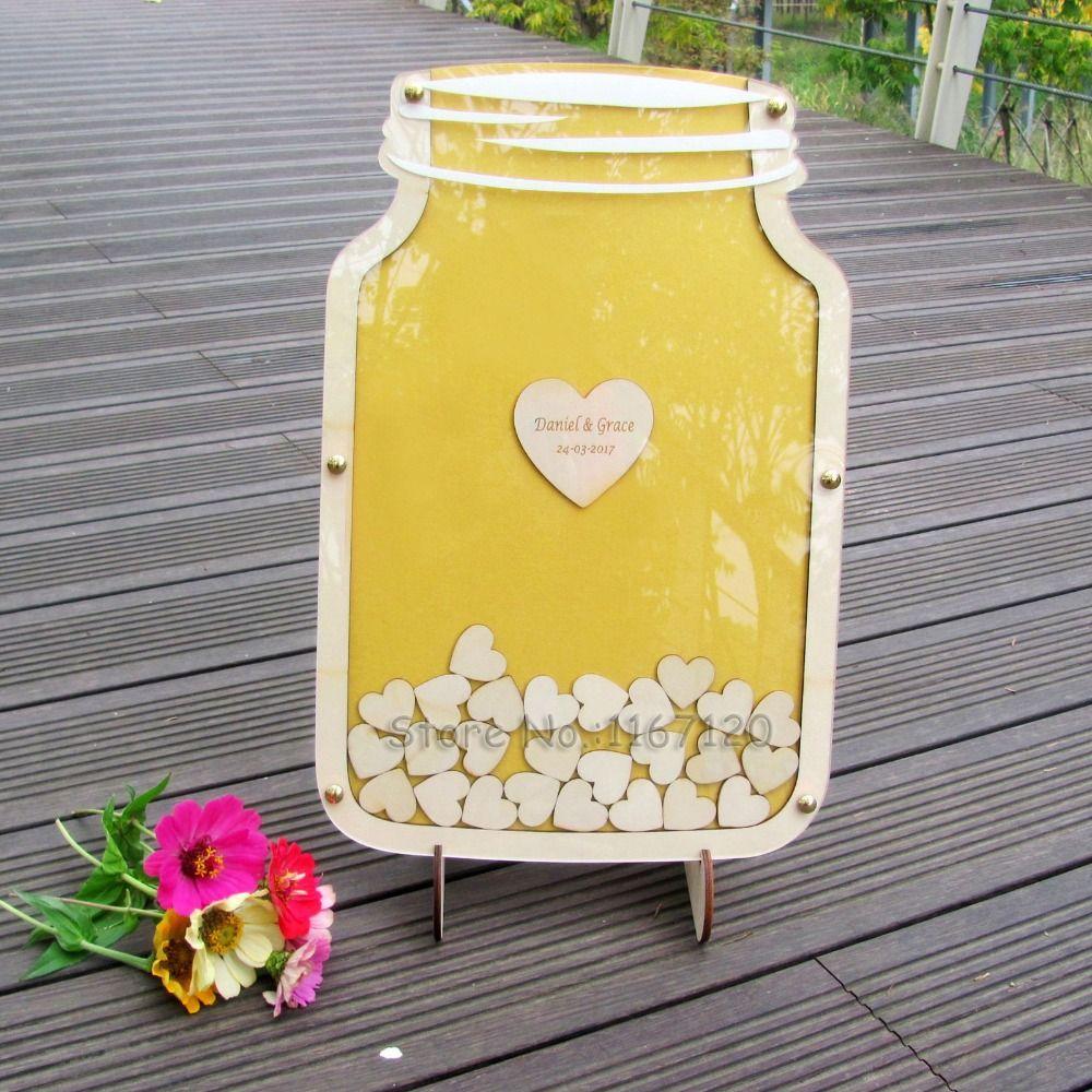 Personalized Customs Wedding Guest Book Drop Box Guest Book Alternative Mason Jar Drop Box guest book 40x26cm